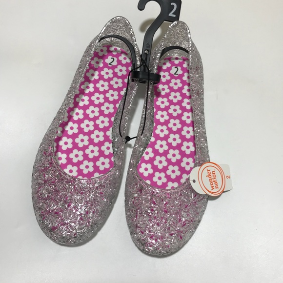 06d7151329f3 Wonder Nation Girls Size 2 Clear Jelly Slip On